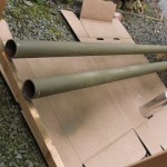 The pipes after a first coat of OD green. I should have bought two cans...